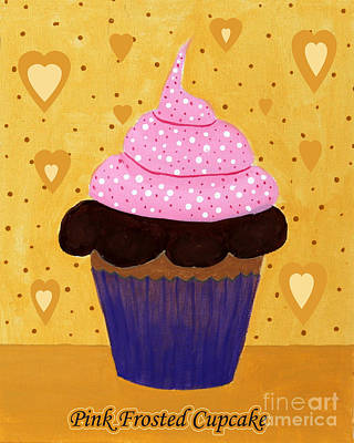 Barbara Griffin Art Painting - Pink Frosted Cupcake by Barbara Griffin