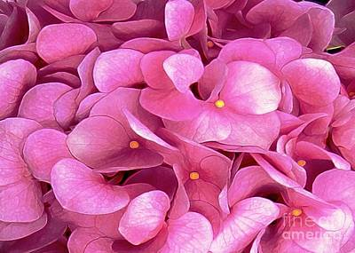 Digital Art - Pink Hydrangeas by Dale   Ford