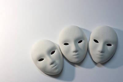 Plaster Masks In Studio Art Print by Kantapong Phatichowwat