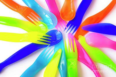 Tableware Photograph - Plastic Cutlery by Carlos Caetano