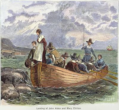 1620 Photograph - Plymouth Rock: Landing by Granger
