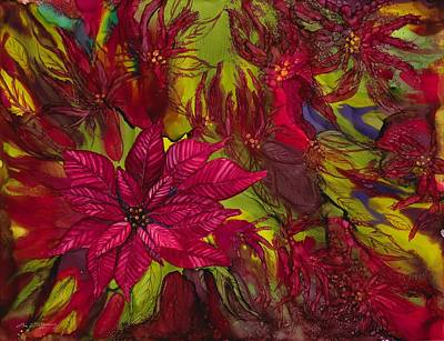 Ink Painting - Poinsettias by Lisa  Marsing