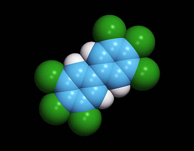 Polychlorinated Biphenyl Molecule Art Print by Dr Tim Evans