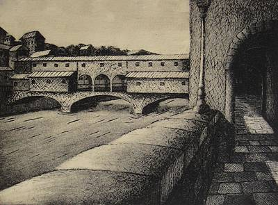 Printmaking Mixed Media - Ponte Vechio by Robert Plog