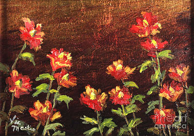 Painting - Poppies Galore With Gold Leaf By Vic Mastis by Vic  Mastis