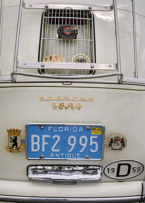 Porsche 1600 Super 1959 Rear View. Miami Art Print