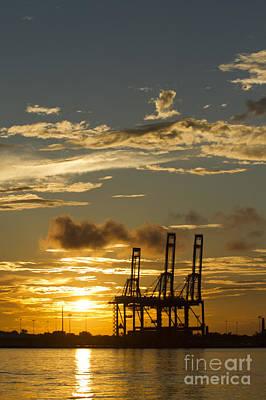Port Of Charleston Sunset  Art Print by Dustin K Ryan