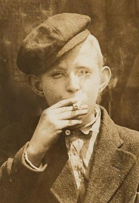 Portrait Of A Boy Smoking, Original Art Print by Everett