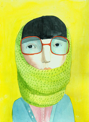 Portrait With Glasses Art Print by Jenny Meilihove