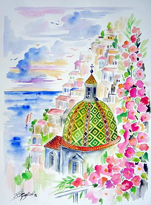 Positano In Acquarello Art Print
