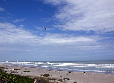 Kites Over Dunes Photograph - Powered Parachute On The Beach by Allan  Hughes