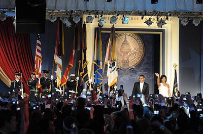 Michelle Obama Photograph - President And Michelle Obama Arrive by Everett