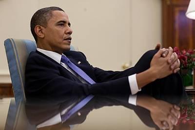President Barack Obama Leans Back Art Print by Everett