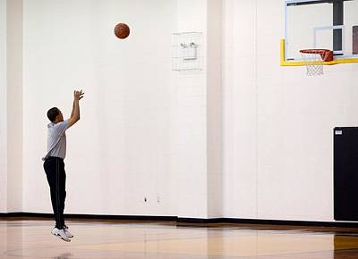 President Barack Obama Warms Art Print