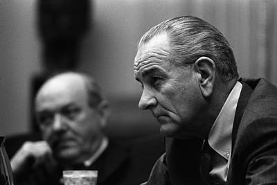 Lyndon Photograph - President Lyndon Johnson And Secretary by Everett