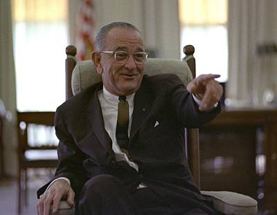 President Lyndon Johnson Gesturing Print by Everett