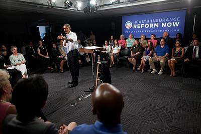 President Obama Promotes Health Care Print by Everett