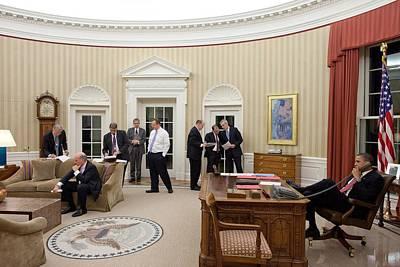 President Obama Talks On The Phone Print by Everett