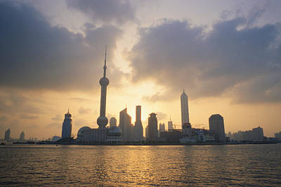 Pudong Skyline, Seen Art Print by Justin Guariglia