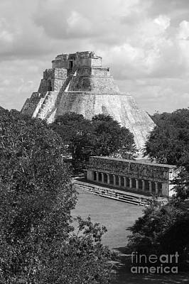 Photograph - Pyramid Of The Magician And Columns Group Structure At Uxmal Mexico Black And White by Shawn O'Brien