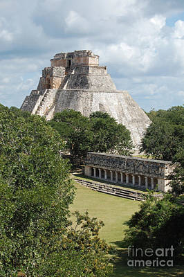 Photograph - Pyramid Of The Magician And Columns Group Structure At Uxmal Mexico by Shawn O'Brien