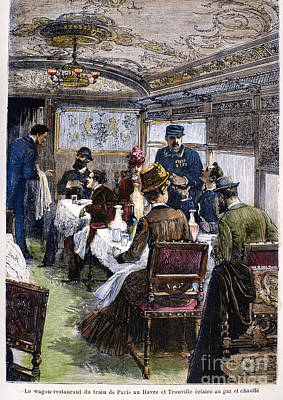 Railroad: Dining Car, 1880 Art Print by Granger