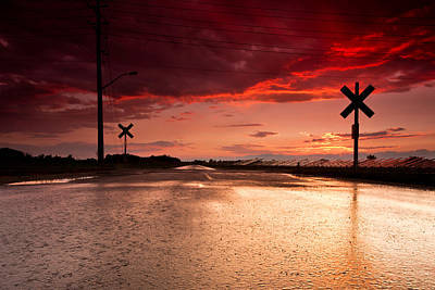 Train Tracks Photograph - Railroad Sunset by Cale Best