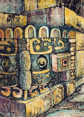 Ruins Mixed Media - Rain God Chac    1 Of 3 by Pamela Iris Harden