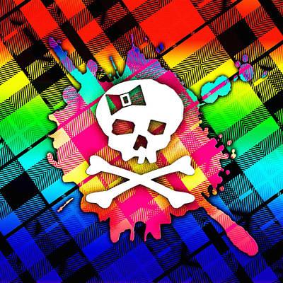 Rainbow Plaid Skull Art Print by Roseanne Jones
