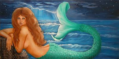 Painting - Reclining Mermaid by Joni McPherson