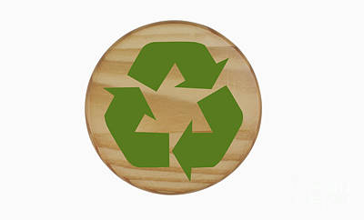 Recycling Symbol On Wood Print by Blink Images
