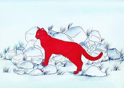 Red Cat Art Print by Michaela Bautz