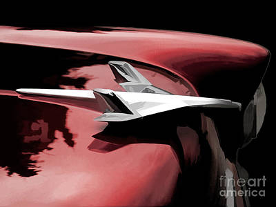Classic Cars Digital Art - Red Chevy Jet by Douglas Pittman