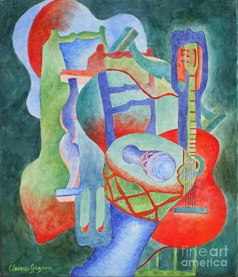 Painting - Red Guitar by Claire Gagnon
