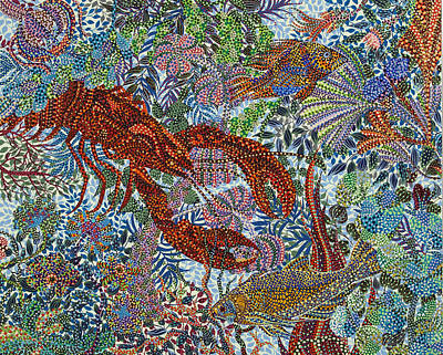 Red Lobster Print by Erika Pochybova