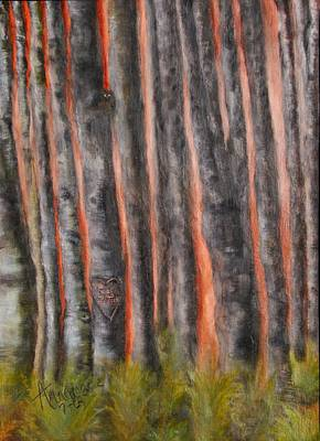 Hearts On Trees Painting - Red Moon Night by Annamarie Sidella-Felts