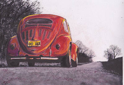 Iconic Car Drawing - Red Oxo by Sharon Poulton