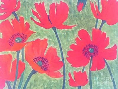 Red Poppies Art Print by Berta Barocio-Sullivan
