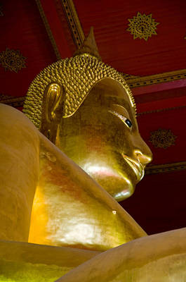 Photograph - Red Roofed Hall With Ornaments And A Tall Golden Buddha Statue by Ulrich Schade