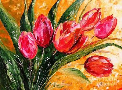 Red Tulips Art Print by AmaS Art