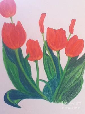 Red Tulips Art Print by Berta Barocio-Sullivan