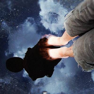 Cool Wall Art - Photograph - Reflection Of Boy In A Puddle Of Water by Matthias Hauser