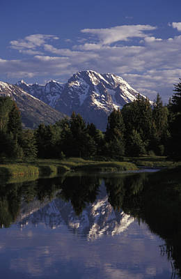 Reflection Of The Teton Mountans Print by Richard Nowitz