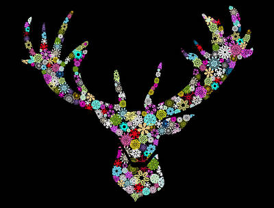 New Year Mixed Media - Reindeer Design By Snowflakes by Setsiri Silapasuwanchai