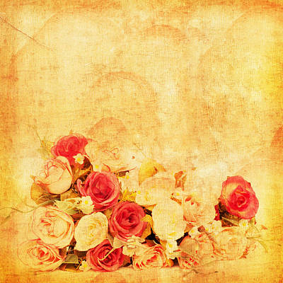 Abstract Rose Wall Art - Photograph - Retro Flower Pattern by Setsiri Silapasuwanchai