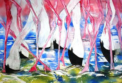 Painting - Rift Valley Flamingo Feeding by Courtney Wilding