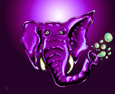 Animals Drawings - Ringo Party Animal Purple by Adam Vance