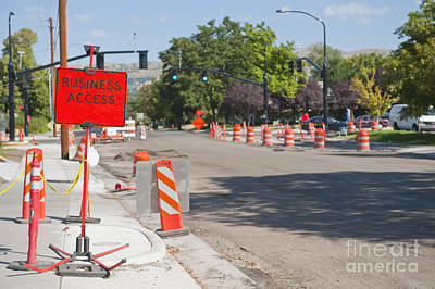 Road Construction On City Street Art Print by Thom Gourley/Flatbread Images, LLC
