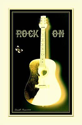 Rock On Guitar Art Print by Danielle  Parent