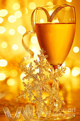 Table Wine Photograph - Romantic Holiday Celebration by Anna Om